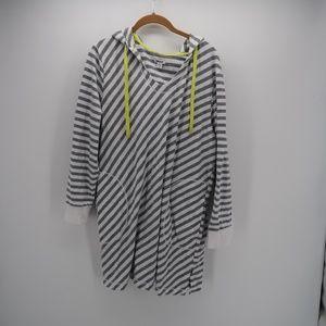 DKNY Striped Pocket Hooded Drawstring Sweatshirt